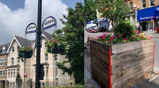 Flower baskets and flower planters on Hight Street